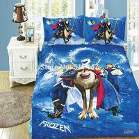 Newest Frozen bedding set 3pcs twin size 100%cotton duvet quilt bed cover linen comforters bedclothes kids blue flat sheets