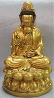 "[wholesale_jewelry_wig ] free shipping 16"" Marked Purple Bronze 24K Gold Seat Lotus Kwan-yin Bodhisattva Goddess Statue"