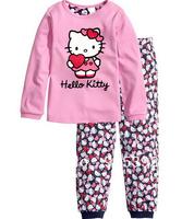 Free Shipping,2014 New Style 100% cotton kitty Cat design long sleeve clothing Children's pyjamas girls Sleepwear set baby wear