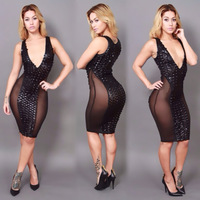 Leather punching mesh stitching nightclubs women's in Europe and America bandage dress sexy spandex hip free shipping