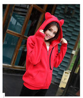 2014 Korea Style Women Bunny Ears Hoodies Coat Warm Pullovers Outerwear Casual Sprots Sweatshirts 5 Colors H024 Free Shipping