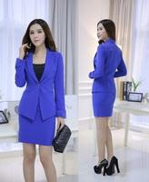 New 2014 Spring Autumn Plus Size Uniform Design Office Work Wear Professional Skirt Suits For Business Women Beautician Blazers