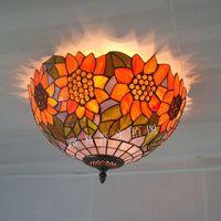 European Garden charming sunflower ceiling lamp Tiffany glazed among American living room bedroom study mashups lighting