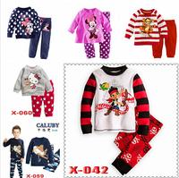 new 2014 Boys plane in sky Pajamas Children minnie Autumn -summer lycra Clothing sets wholesale 6pcs/lot Caluby Pyjamas