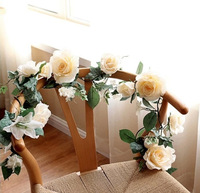 5 Artificial ROSE Lily Cherry Vine Home Decor Silk Flowers Decorative Flowers Hanging Wreaths Wedding Party Decoration