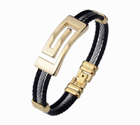 New Fashion Men Jewelry 316L Stainless Steel Black And Gold Plated Twisted Bracelets Bangles For Men