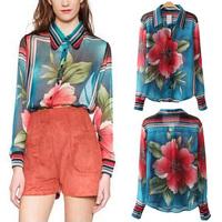 2014 New Autumn Women Trendy Contrast Color Position Big Flower Striped Print Lapel Long Sleeve Loose Chiffon Shirts Blouse Tops