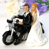 "2014 New Wholesale - Motorcycle ""Get-away"" Bride and Groom Wedding Cake topper home wedding decoration"