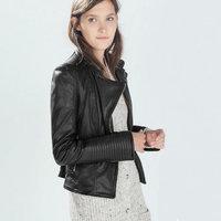 2014 Winter Autumn Women Brand Black Faux Soft Leather Jackets Ladies Long Sleeve Motorcycle Mandarin Collar Coat Free Shipping