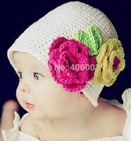 Free Shipping Hand Crochet Baby Flower Hat Knitted Girls' Flower Cap Baby Hat Kids Infant Beanie Wholesale