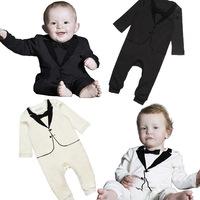 Spring children's clothing infant gentleman gentleman sleeved jumpsuit climbing clothes Romper printing vest Tong c216