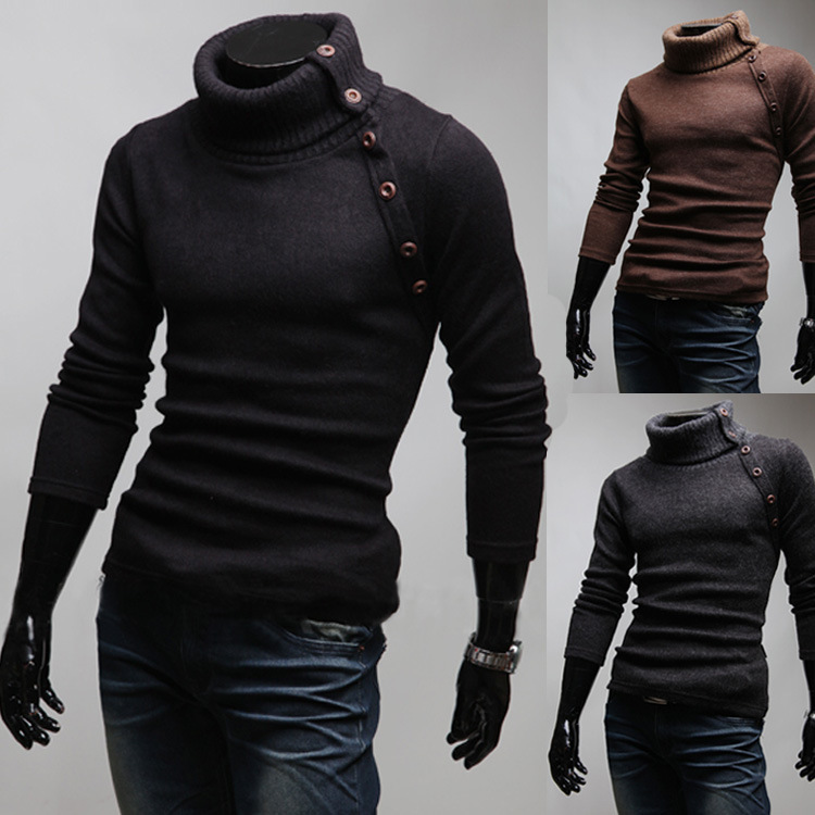 Sweater High Neck High Neck Men Sweater Long