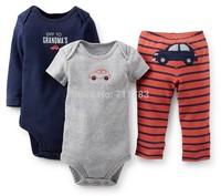 New arrival! wholesale carter's baby boy 3piece layette set, carter's 3pcs bodysuit with pants set, 5sets/lot,free shipping