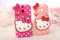 Cute Cartoon 3D White Dots Cat soft rubber case cover for HTC One M8 (2014) Free Shipping