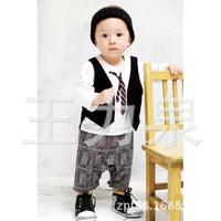 Wholesale children's clothing Korean explosion models exclusive new tie gentleman Plaid Romper c135