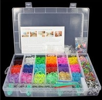 4200 COLOURFUL RUBBER LOOM BANDS BRACELET MAKING KIT SET WITH S-CLIPS 72pcs one Lot Free DHL shipping