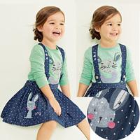2014 New Spring Autumn Baby Girls Dress Clothes Children cute rabbit shirt+ Dot denim strap dress 1t~6