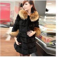 Winter 2014 new European and American style long sleeve wool collar Nagymaros Slim star models female fur coat -G046