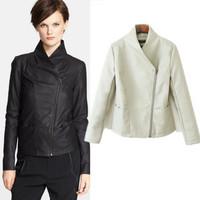 2014 New Fashion European And American Women Zipper Slim Leather Pu Women Coat Ladies Leather Jacket Black/white QZP9
