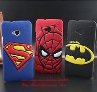 For HTC one M7 cases HOT 3D Superman Spiderman Batman Leather Hard case cell phone back case covers for htc one M7 free shipping