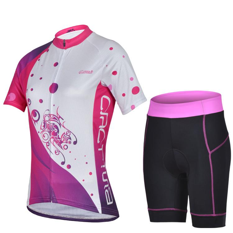 Deep Pink padrão fêmea bonita jersey Pro ciclismo roupas Ciclismo / Bicicleta desgaste / Ciclismo manga curta jersey + Conjuntos Shorts(China (Mainland))
