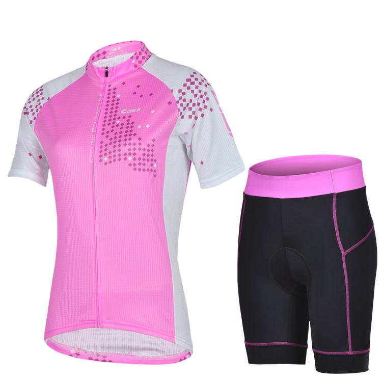 Nova fêmea rosa mulheres Pro Cycling vestuário / ciclismo manga curta jersey + Shorts define / ciclismo jersey / ciclismo desgaste entrega gratuita(China (Mainland))