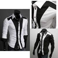 2014 Hot Sale New Mens Shirts Casual Slim Fit Stylish Mens Dress Shirts Men Fashion Shirts Patchwork Color plus size M-XXL