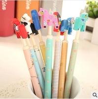 Nice 12pcs/lot Black Refill Crazy Horses Gel Ink Pen Cartoon Animal Pens Stationery Office/School Supplies #GP012