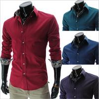 Free Shipping 2013 Mens Slim fit Unique neckline stylish Dress long Sleeve Shirts Mens dress shirts 3colors ,size: M-XXL CS507