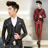 New Autumn Winter fashion Korean Slim casual men's fashion blazer men suits printing ternos masculino 2014 M-XXL Free Shipping