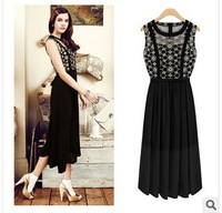 2014 New Arrival Summer Chiffon Ankle-Length  lace o-neck sleeveless dress high Quality dress