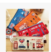 Min. order is $15 (mix order)  Hot Sale Stationery  Fashion Fly over London pencil case Pencil Bags