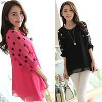 2014 New Fashion Free Shipping Chiffon L-4XL New Arrival Wholesale Blouse Shirt elexs117 womens