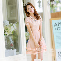 FengYBL2014 summer new Korean version of the hollow lace short sleeve casual dress ( with necklace )
