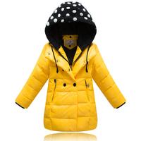 Fashion children girls winter duck down jacket coat with a hood high quality medium long thick zipper kids warm parka outerwear