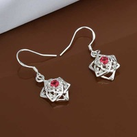 E456 new design Hot Sale!!Free Shipping 925 sterling silver Earring,Fashion 925 silver Jewelry Inlaid Red Stone Earrings