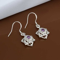 E457 new design Hot Sale!!Free Shipping 925 sterling silver Earring,Fashion 925 silver Jewelry Inlaid Purple Stone Earrings