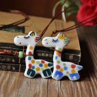 Jingdezhen ceramic accessories national trend jewelry pure giraffe necklace Women