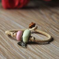 Handmade knitted accessories ceramic bead bracelet vintage bead is handmade