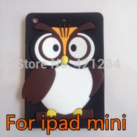 "New for iPad mini 1/2 3D Cartoon OWL Soft back cover,Cute stylish silicon cover for ipad mini 7.9"" tablet,10color  freeshipping"