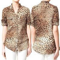 Fashion Women Leopard Print Blusas Pattern Shirt Blouse Tops Women's Blouse Foldable Blusas Femininas Camisas Casual Shirts
