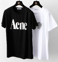 New In 2014 Summer Women ACNE Letters Print Loose Cotton Basic T-shirt Ladies' Brief Casual Short Sleeve Tees And Tops