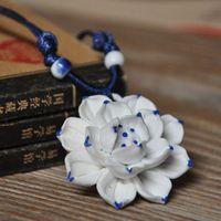 Jingdezhen ceramic jewelry handmade accessories white lotus necklace national trend Women multi-layer porcelain flowers
