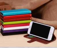 New arrrival Luxury wallet leather case for iphone 6 case with credit card holder flower curve 8 colors available