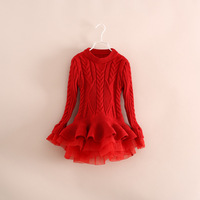 4 color hot sale children girl knitted lace dress princess sweater pullovers