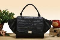 Women handbag Genuine Leather Classic Black Vintage shoulder bag Women's Celebrity Designer Brand Handbags Crocodile Pattern bag