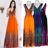 S0BZ New Women Bohemian Peacock Tail Hawaiian V-neck Long Beach Dress Sundress