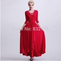 2014 summer and autumn high-street dress long sleeve maxi dress party dress red green dress Plus size S M L XL XXL XXXL