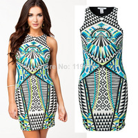 2014 New Fashion Women Summer Dress Celeb Style Slim AZECT Print Party Dresses Sexy Bodycon  Casual Dress Desigual Vestidos