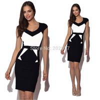 2014 New Celebrity Summer Hot Black White Patchwork Women Bodycon Bandage Dress Long Knee Length Club Party Dresses YK015